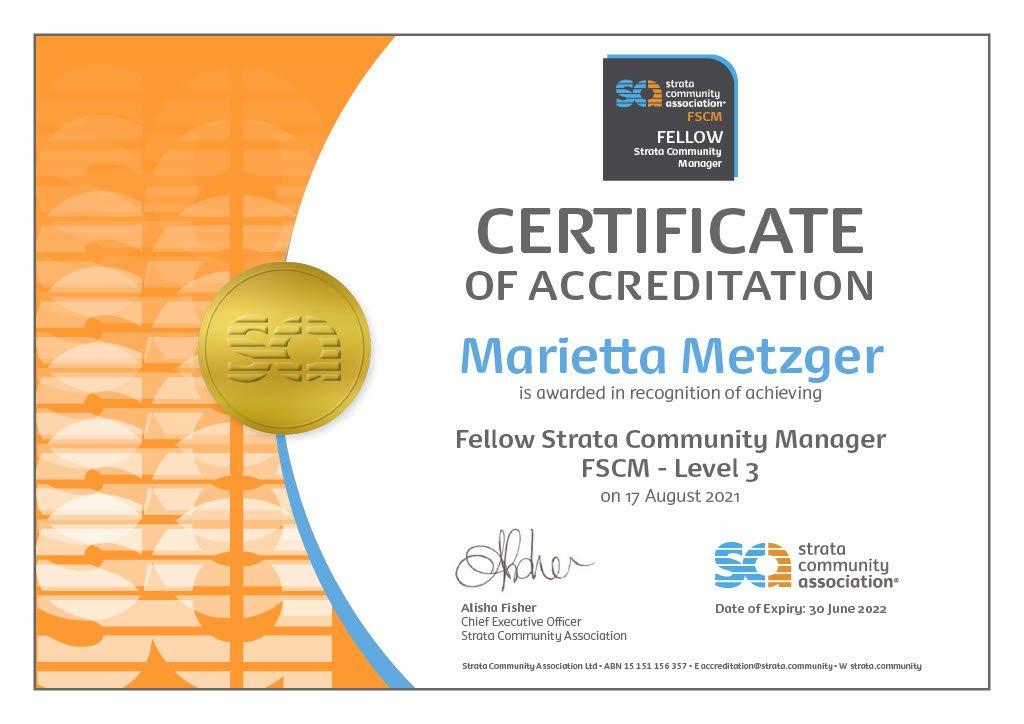 Fellow Strata Community Manager - FSCM Marietta Metzger